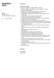 Journalism Graduate Cv Template Internship Resume Example Best