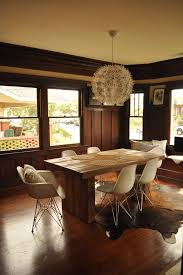 eclectic dining room in craftsman 1960s dining room photo in san diego with dark hardwood floors eames chair style bedroominteresting eames office chair replicas style