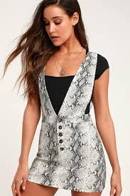 Spectacle Grey Snake Print Pinafore Dress