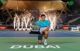 Aslan Karatsev reacts to winning his maiden ATP title in Dubai
