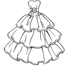 Wedding Dress Coloring Pages Barbie Dresses Printable Plaintrip