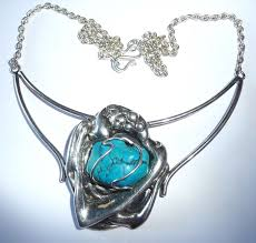 vintage choker necklace made from 925 silver with a large natural turquoise nugget