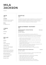 Cv Cleaner Cleaner Resume Sample Writing Guide Resumeviking Com