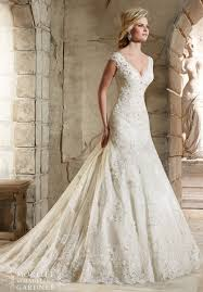 mori lee bridal 2785 lace fit and flare wedding dress