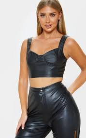 black faux leather crop top image 1