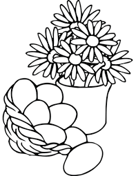 Small Picture Easter Basket and Vase with Flowers coloring page Free Printable
