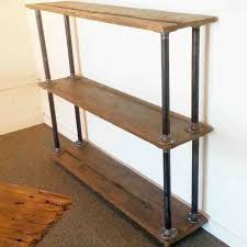reclaimed diy pipe shelves freestanding wood and metal wall rhgagnantcom to build a shelf industrial shelving