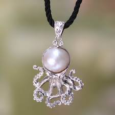 pearl on sterling silver pendant on silk necklace white octopus