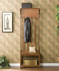 Wood Hall Tree Coat Rack Entryway Bench front foyer coat rack Details about Entryway Bench Seat Hall Tree 31