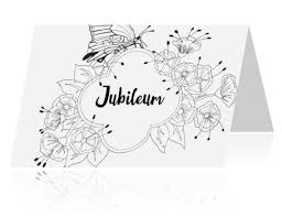 Jubileum 40 Jaar Getrouwd Kleurplaat Kaart Bloemenkader
