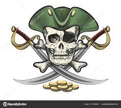 ручной обращается пиратский череп кости саблями векторные