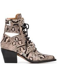 chloÉ chloe rylee python print leather lace up buckle boots in gray animal print