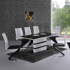 10 black and white dining room set arctica white extending black glass dining table and 6