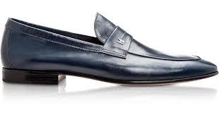 moreschi brisbane navy kangaroo leather loafer shoes in black for men lyst