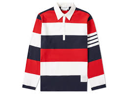 thom browne stripe rugby shirt