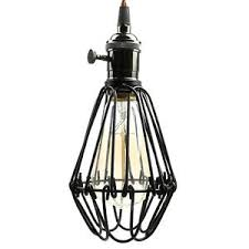 Pauwer Industrial Vintage Pendant Light Wire Cage Lamp Mini Plug In