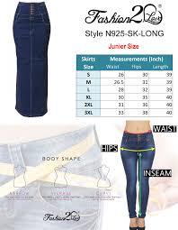 Waist To Knee Measurement Chart Details About Women S Juniors High Waist Long Knee Length Midi Pencil Denim Skirt