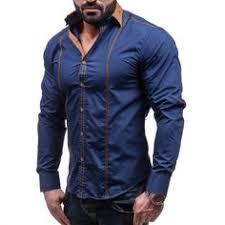 <b>2018</b> new <b>best selling men's</b> shirts double-layer collar door edging ...
