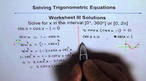 trigonometric equations worksheet 3 solution q1