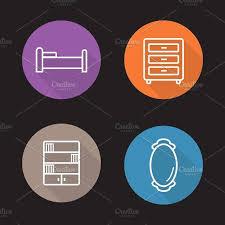 creative furniture icons set flat design. Furniture Icons. Vector By Icons Factory On @creativemarket Creative Set Flat Design