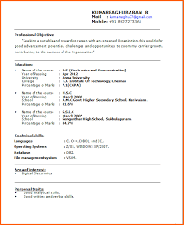 Profesional Resume Format Enchanting Resume For Bca Students
