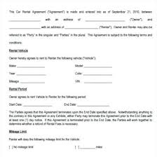 Lease Agreement Example Motor Vehicle Rental Agreement Template