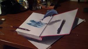 3d drawing jumping dolphin in the book 高校生の自主制作