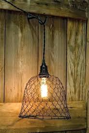 rustic wire chandelier world market en light lamp shade primitive country farm dome pendant w socket ch
