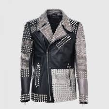 details about new handmade multicolor full multi studded leather jacket