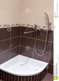 Duschen Sie Behälter Im Badezimmer Das Mit Braunen Fliesen