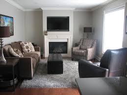 grey walls and brown furniture