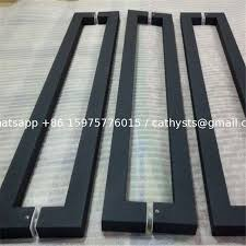 china 304 316 stainless steel frame glass door double handle black titanium color supplier