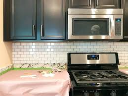subway tile backsplash installation kitchen with subway tile hung but not grouted average cost of subway