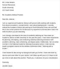 Academic Advisor Cover Letter Academic Advisor Resume Sample Sample