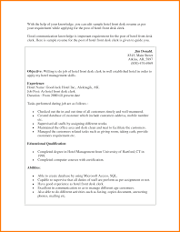 Resume Receptionist Hotel Resume For Study