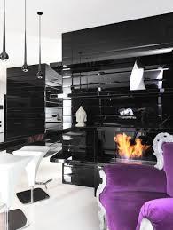 Purple Living Room Design Black And White Graphic Decor