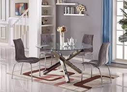 vogue large round chrome metal clear glass dining table