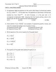 16 pre calculus unit 3 test 2 worksheet exponential growth and decay problems calculus