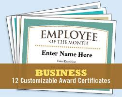 Award Paper Template Interesting Business Certificates Award Certificate Templates Employee Etsy