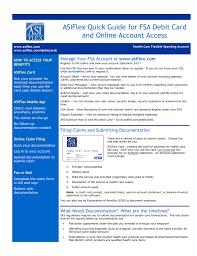 asiflex quick guide for fsa debit card and account access asiflex