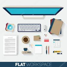 designer office desk isolated objects top view. Flat Design Vector Illustration Of Office Workspace. Top View Desk Background With Computer, Objects, Notebooks And Documents Long Shadows Designer Isolated Objects