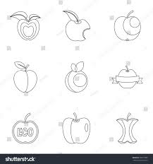 apple logo white vector. apple logo icon set. outline set of 9 vector icons for web isolated white