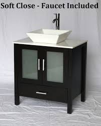 30 inch espresso bathroom vanity white square porcelain vessel style 30 wx20 5 dx36 h s2419ess