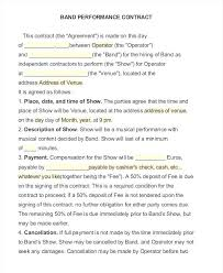 Music Performance Agreement Template 9 Performance Contract Samples ...