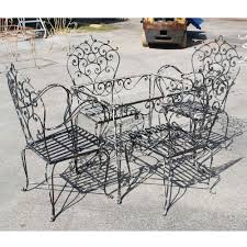 Home Decor Cozy Wrought Iron Dining Sets With Black Vintage Patio