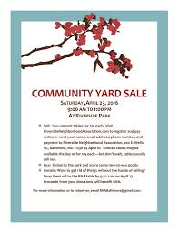 Community Yard Sale April 23 2016 Riverside