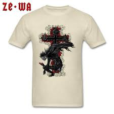 Mens Shirts With Cross Designs Us 7 32 40 Off Customized T Shirt Men Hot Sale Death Note T Shirt Death God Printed On Mens Clothing Cotton Beige Tops Rose Cross Design In T Shirts