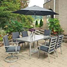 home styles south beach grey 9 piece rectangular extruded aluminum outdoor dining set with gray
