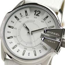 diesel dz1405 men s white dial leather stainless steel watch diesel dz1405 men s white dial leather stainless steel watch