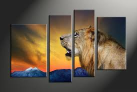 home decor 4 piece canvas art prints animal large canvas lion canvas print on large multi panel canvas wall art with 4 piece lion wildlife yellow huge pictures